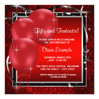 Womans Red Black Birthday Party Invitations