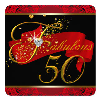 """Womans Red Fabulous 50th Birthday Party 5.25"""" Square Invitation Card"""
