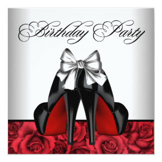 """Womans Red Rose Birthday Party 5.25"""" Square Invitation Card"""