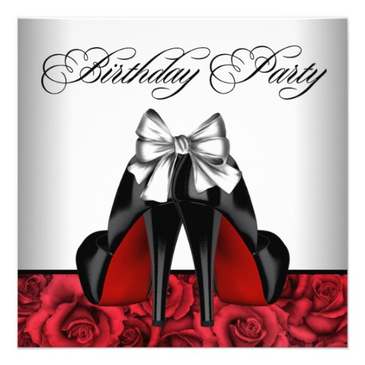 Womans Red Rose Birthday Party Invitations