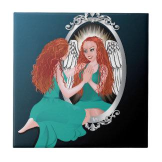 Woman's Reflection Green Tile