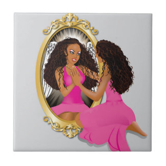 Woman's Reflection Pink Ceramic Tiles