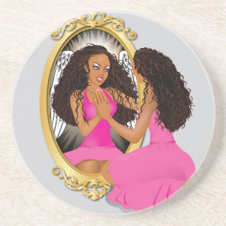 Woman's Reflection Pink Drink Coaster