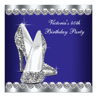 Womans Royal Blue 40th Birthday Party Card