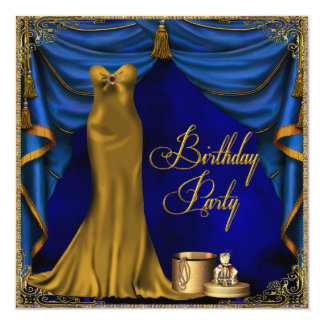 "Womans Royal Blue Gold Art Deco Birthday Party 5.25"" Square Invitation Card"