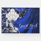 Womans Royal Blue Silver Birthday Party Guest Book
