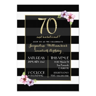 Woman's Seventy & Sensational | B&W Floral Stripe Card