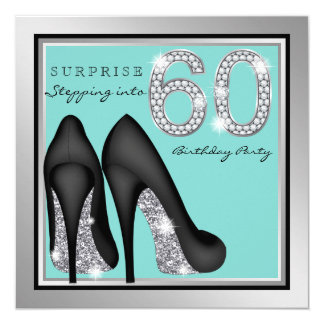 Womans Silver Teal Surprise 60th Birthday Party Card
