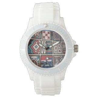 Woman's sporty silicon white watch with artwork