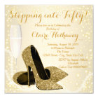 Womans Stepping into Fifty Birthday Party Card