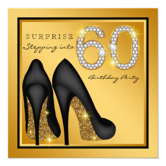 "Womans Surprise 60th Birthday Party 5.25"" Square Invitation Card"
