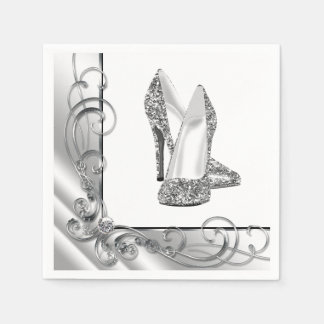 Womans Swirl Glitter High Heel Shoes Paper Napkins