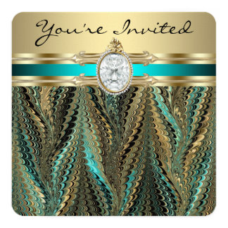 "Womans Teal Blue and Gold Birthday Party 5.25"" Square Invitation Card"