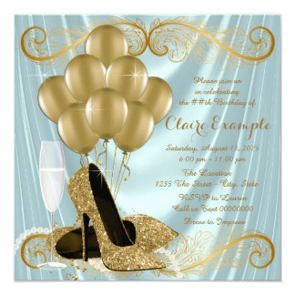 """Womans Teal Blue and Gold Birthday Party Glamour 5.25"""" Square Invitation Card"""