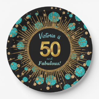 Womans Teal Blue Gold 50th Birthday Party Paper Plate