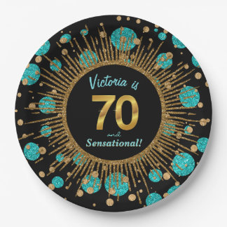 Womans Teal Blue Gold 70th Birthday Party Paper Plate