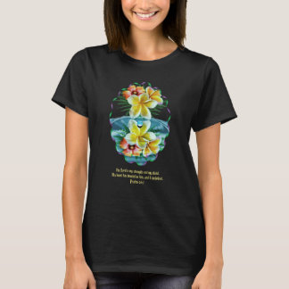 Womans Tshirt with Hawaiian Flowers and-Scripture