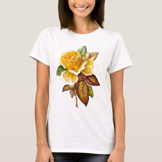 Womans Vintage Yellow Rose Baby-doll T-shirt