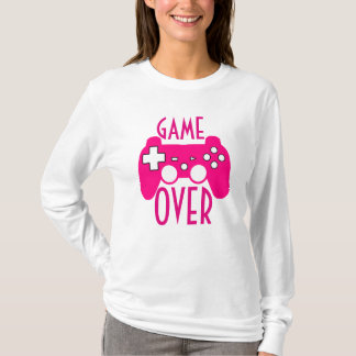 Womans White & Pink Game Over Long Sleeve T T-Shirt