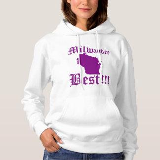 Womans White & Purple Milwaukee Hoodie