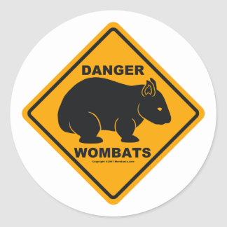 Wombat Danger Road Sign Round Sticker
