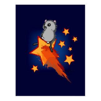 Wombat Riding A Shooting Star Postcard