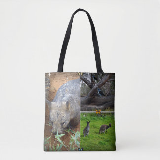 Wombat Sniff Aussie Photo Collage, Tote Bag