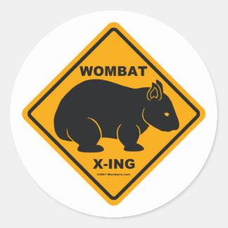 Wombat X-ing Road Sign Classic Round Sticker
