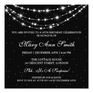 "Women 50th Birthday Party Sparkling Chain Black 5.25"" Square Invitation Card"