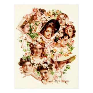 Women adorned with roses postcard