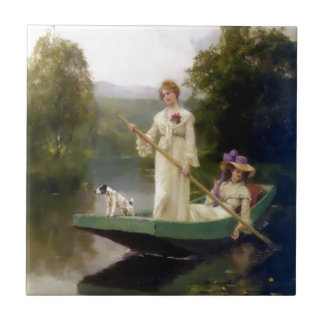 Women and Dog in a Boat Painting Tiles