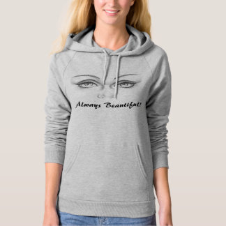 Women-Apparel Calif. Fleece Pullover-Glamour Eyes Hooded Pullovers