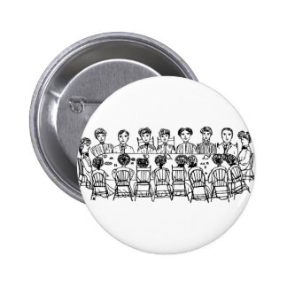 Women at a Dinner Party 2 Inch Round Button