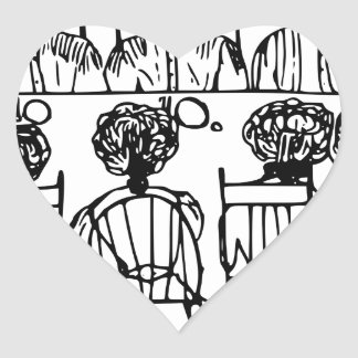 Women at a Dinner Party Heart Sticker