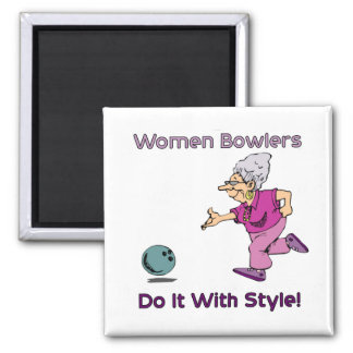 Women Bowlers Square Magnet