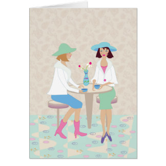 Women Chatting at a Cafe - Blank Notecard