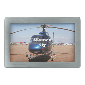 Women fly: blue helicopter belt buckle