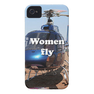 Women fly: blue helicopter iPhone 4 Case-Mate cases
