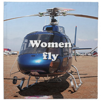 Women fly: blue helicopter napkin