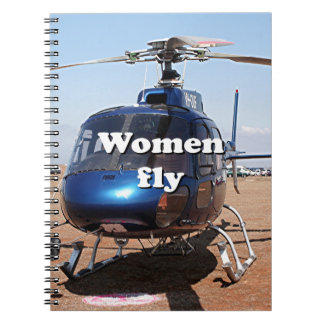 Women fly: blue helicopter notebook