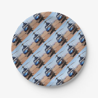 Women fly: blue helicopter paper plate