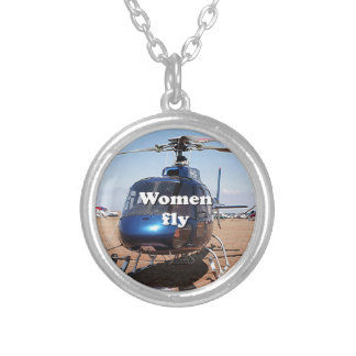 Women fly: blue helicopter silver plated necklace