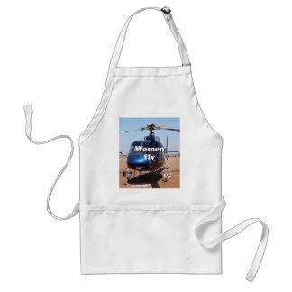 Women fly: blue helicopter standard apron