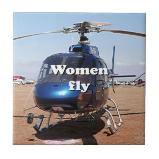 Women fly: blue helicopter tile