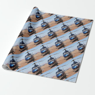 Women fly: blue helicopter wrapping paper