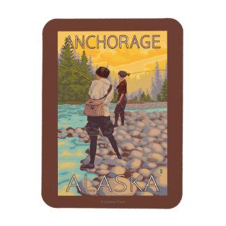 Women Fly Fishing - Anchorage, Alaska Rectangular Photo Magnet