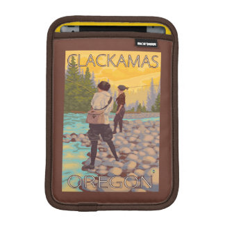 Women Fly Fishing - Clackamas, Oregon iPad Mini Sleeve