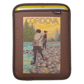 Women Fly Fishing - Cordova, Alaska Sleeve For iPads