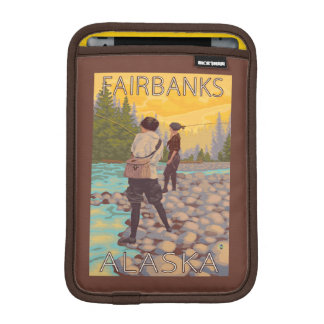 Women Fly Fishing - Fairbanks, Alaska iPad Mini Sleeves