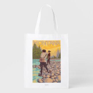 Women Fly Fishing - Montana Reusable Grocery Bag